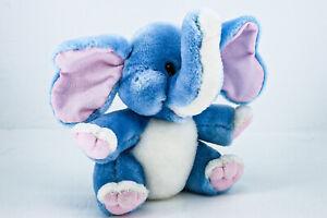 """Applause Vintage 1984 Blue Elephant Pink Ears Plush Stuffed Animal 10"""""""