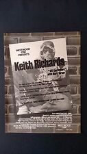 THE ROLLING STONES KEITH RICHARDS.  RARE ORIGINAL PRINT PROMO POSTER AD