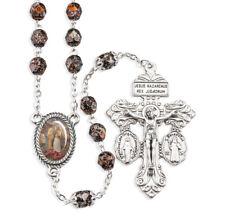 "St. Joseph Terror of Demons, Copper Flake Fire Bead Rosary,  18"" Matching Box"