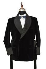 Men Black Belt Smoking Jackets Elegant Luxury Designer Dinner Party Wear Blazers