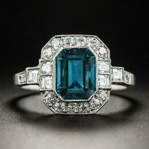 November stone London Blue Topaz Sterling Silver Engraved Engagement Ring