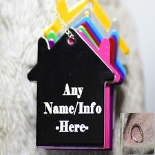 Personalised Pet Tags Engraved Dog Cat Charm Name Collar Animal ID house tag