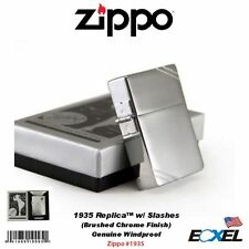 Zippo #1935 1935 Replica Lighter, w/Slashes, Brushed Chrome, Genuine Windproof