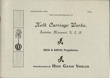 Rare Catalog (1902): Kelk Carriage Works Sedalia MO High Grade Vehicles(Copy36PG