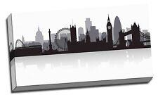 "London Black & White City Skyline Silhouette Canvas Print Wall Art 40X 20"""