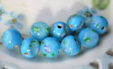 Vintage Glass Beads Flowers Rose 10mm Sapphire Rounds Smooth floral Lamp #N809A