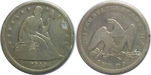 1843 $1 Liberty Seated Silver Dollar Good Details Holed Cleaned