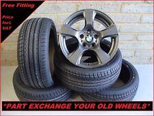 """2262 Genuine 17"""" BMW 157 1 2 3 Series E90 E91 Grey Alloy Wheels & New Tyres"""