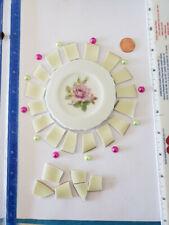Broken China Tiles + Rose Focal + Half dome pearls~ Rosette