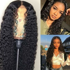 Fashion Women Long Body Wave Lace Front Wig Heat Resistant Synthetic Hair Black