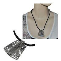 Collier argent massif 925 cordon de cuir noir pendentif cartouche égyptien bijou