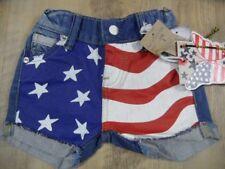 VINGINO coole Jeans-Shorts mit Flaggen Druck OCTAVIA BABY Gr. 1 J NEU
