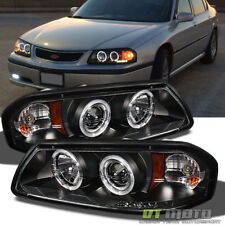 Blk 2000-2005 Chevy Impala LED Dual Halo Projector Headlights Lights Left+Right
