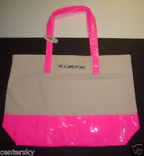 New $78 Victoria's Secret Large Neon Pink Patent Leather Canvas Tote Bag Beach