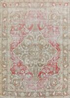 Pre-1900 Antique Geometric Muted Red 9x12 Tebriz Vegetable Dye Wool Area Rug