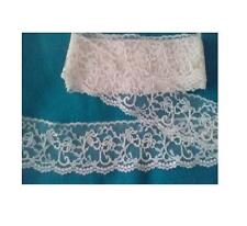 """2"""" Floral Flat Lace Trim  Cream Fuchsia Design 4 yards polyester crafts sewing"""