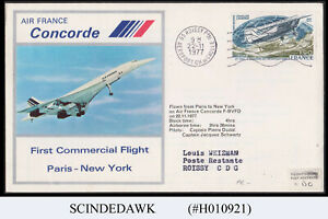 FRANCE - 1977 AIR FRANCE CONCORDE PARIS to NEW YORK - FFC FIRST FLIGHT COVER