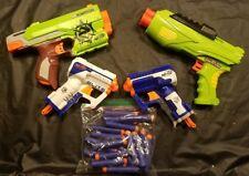 Lot 4 NERF N-Strike Soft Dart Guns White & Blue Triad EX-3 &18 darts Air Warrior