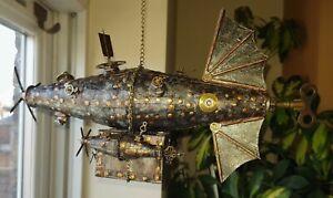 Handmade Individually designed Steampunk Large Airship Metal Art Effect N0.1