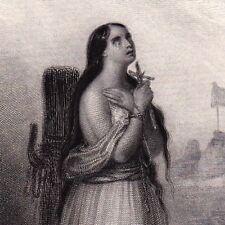 Gravure XIXe Mort de Jeanne d'Arc La Pucelle d'Orléans Bûcher 1840