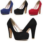 Women's Suede Leather Round Toe Stiletto High Heel Platform Pumps Working Shoes