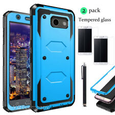 For Samsung Galaxy J3 Shockproof Case Cover with Tempered Glass Screen Protector