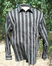 "SIGNUM SHIRT M 16 1/2"" X 35"" CHEST 48"" GREY N BLACK STRIPED ITALIAN CLOTH GERMAN"