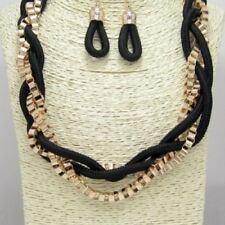"""18"""" Adjustable Black and Gold Tone Braided Necklace W Earrings"""