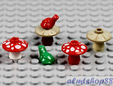 LEGO - 4x Mushroom 2x Frogs Green Animal Toad Princess Castle Hobbit Food Forest