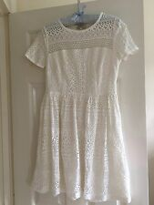 Papaya White Broderie Anglaise Lace Net Skater Dress Size 12 Smart Work Summer