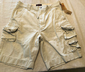 NEW Men's Cargo Shorts Size 32 Khaki New $59 Cremieux  Distressed