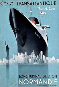 Ship Liner Normandy Cie Gle Transatlantic Deco Sea Travel Poster Print