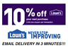 THREE 3x Lowes 10% OFF 3Coupons Discount - Lowe's In store/online -FAST Delivery