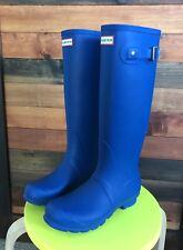 Hunter Womens 8 Original Tall Azure Blue Classic Finish Matte Rain Boot Shoe New