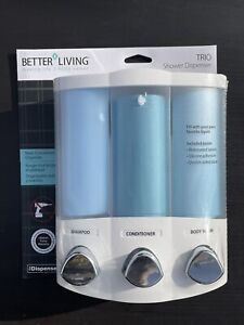 Better Living Euro Trio 3 Shower Liquid Dispenser Shampoo Body Wash Cond 76334-1