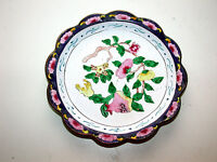 Chinese Canton Famille Rose Floral Round Enamel On Brass Scalloped Rim Dish