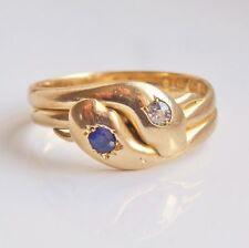 Splendido Antico Vittoriano 18 KT ORO Diamante & Zaffiro Serpente Serpente Anello c1889