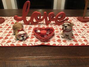 Valentine's Day Bulldog Resin Figurine Set Of 2