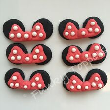 Edible Minnie Mouse Disney Cupcake Cake Decorations Red Glitter Bows Ears