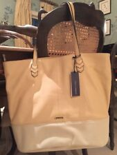 NWT $345 Rebecca Minkoff Mansfield Large Tote Leather & Canvas Biscuit / Cream