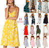 Trendy Womens Holiday Strappy Button Pocket Summer Beach Midi Swing Sun Dress