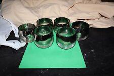6 Vintage DOROTHY THORPE Style Silver Rim ROLY POLY Bar Glasses 5oz Mid Century