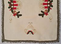 """VINTAGE CHRISTMAS DECORATION CANDLES EMBROIDERY CHAMPAGNE TABLE RUNNER:15""""x 36''"""