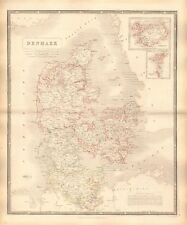 1844 large antique map-Johnston-Denmark, Iceland, propriété Isles