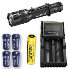 EagleTac T200C2 Flashlight w/D2 Charger, NL189 & 4x Eco-Sensa CR123A Batteries