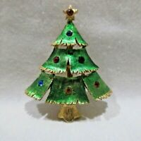 """Christmas Tree Brooch Pin Green & Gold Tone with Colored Stones 2""""T X 1.5""""W"""
