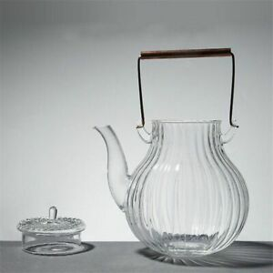 890ML Clear Glass Teapot Chrysanthemum Petals Copper Handle Heat-resistant