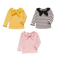 0-5T Toddler Baby Kid Girl Bowknot T-Shirt Long Sleeve Cotton Striped Shirt Top