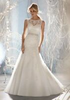 2017 New White/Ivory Organza Mermaid Wedding Dress Bridal Gown Stock Size 4-18