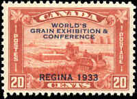 1933 Mint H Canada F-VF Scott #203 20c Grain Exhibition Stamp